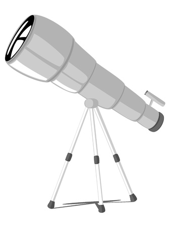science cartoon: telescope.vector illustration