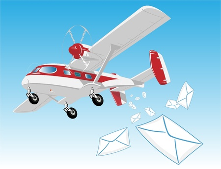 flying aircraft with mail Illustration