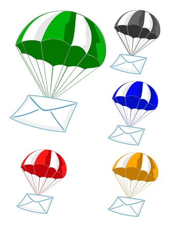 mail delivery by air on an parachute Stock Vector - 10804694