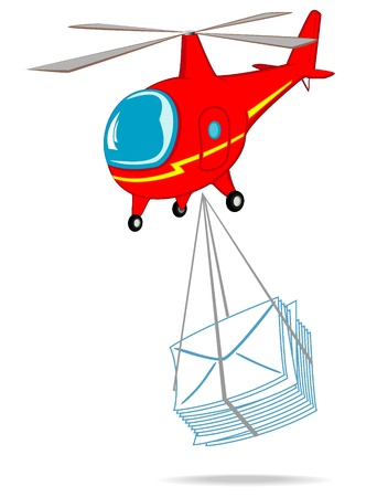 helicopter delivers mail Stock Vector - 10804693