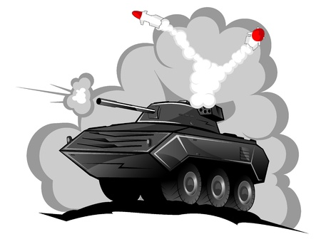 battle tank in action. Vector