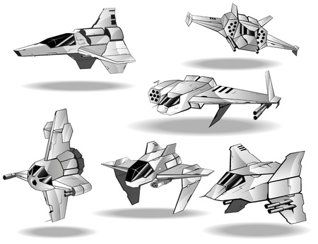 shuttle: set van futuristische interceptors Stock Illustratie