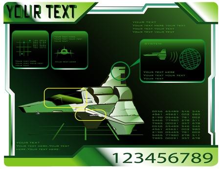 spaceship technical data.  Illustration