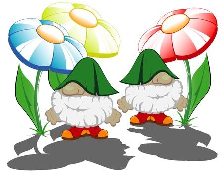 fabulous heroes among flowers Stock Vector - 12056231