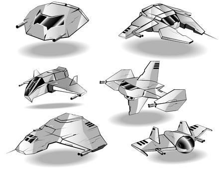 star wars: set of futuristic interceptors