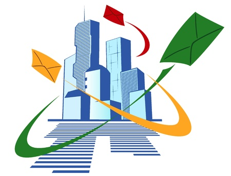 abstract image of a modern city with a high post activity Stock Vector - 12483254