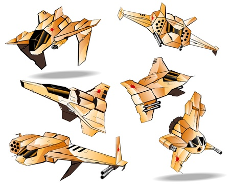 set of futuristic interceptors  Vector