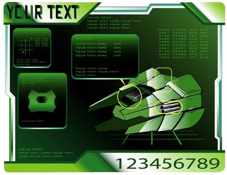 spaceship technical data Stock Vector - 12483527