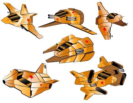 set of futuristic interceptors Stock Vector - 12980452