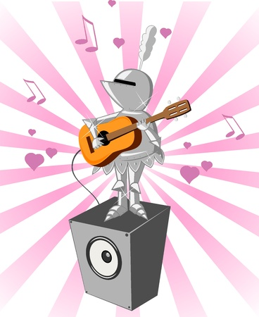 enamored: enamored knight with guitar  Greeting card