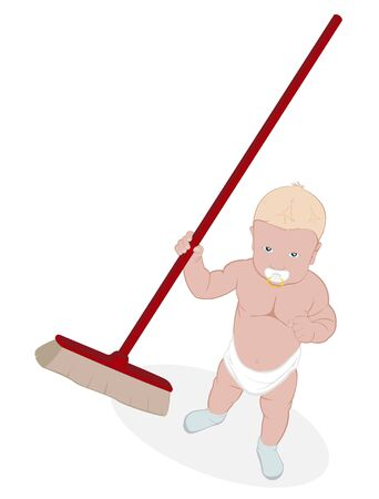 pampered: little boy with a broom in hand