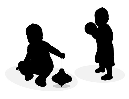 Silhouettes of playing baby Vector