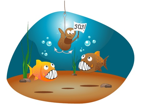 adventure story: Iillustration of hungry fishes and worm with a tablet