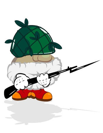 funny cartoon hero  Old brave soldier with rifle Vector