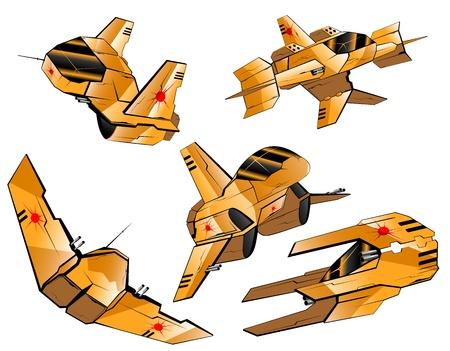 set of futuristic interceptors vector 8 Vector