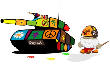 funny cartoon soldier and painted tank Vector