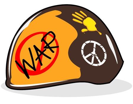 paz mundial: soldado, pintado de casco de vector de la ilustración s Vectores
