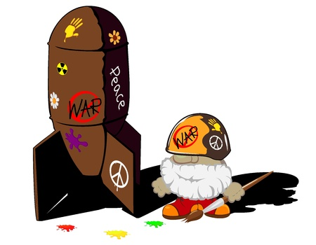 funny cartoon soldier and painted bomb Vector