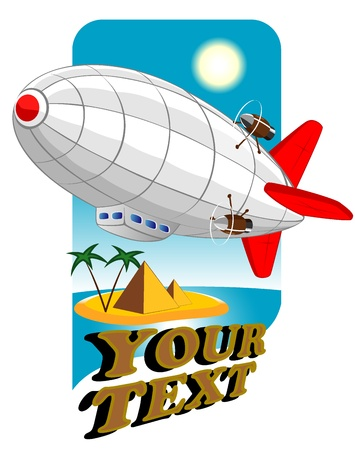 image of a flying zeppelin in the advertising brochure
