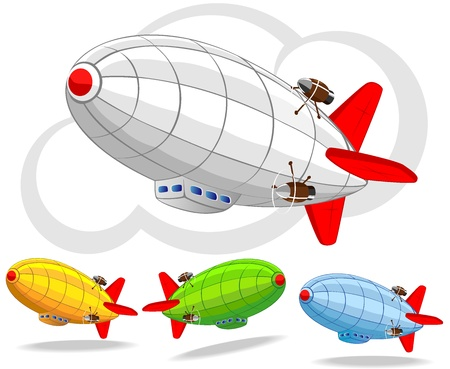 set of flying dirigibles
