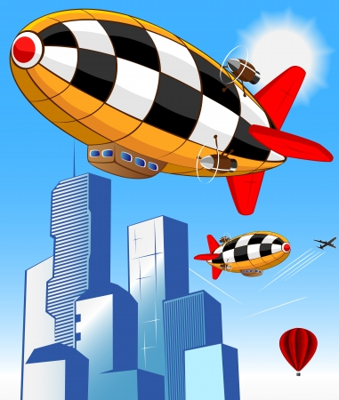 blimps: vector illustration of air taxi Illustration