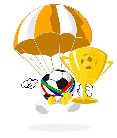 cartoon soccer ball the champion with parachute Stock Vector - 14554383