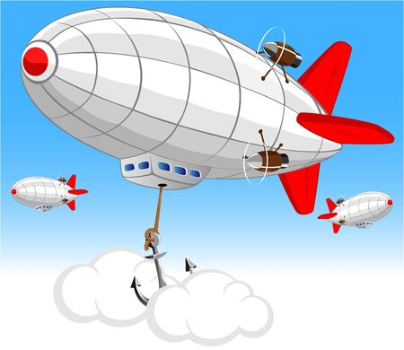 blimps: vector image of the airship on the air parking