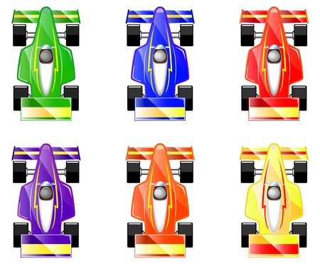 race track: set of cartoon racing cars vector illustration Illustration
