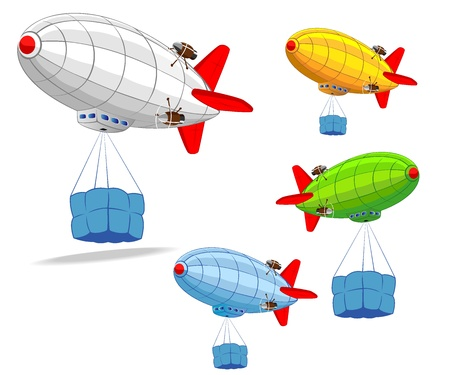 blimps: set of flying dirigibles with cargo