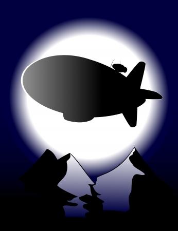 flying zeppelin in moon night