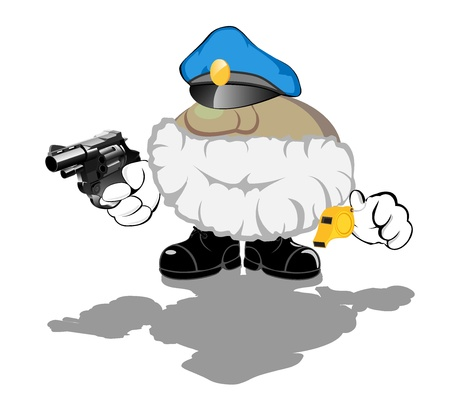 brave armed policeman whith whistle Vector