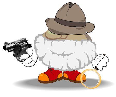 illustration of armed detective investigating a crime Vector