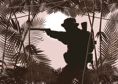 illustration of soldier in jungle forest.  Vector