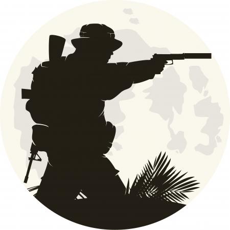 silhouet van de soldaat in actie. Vector 2