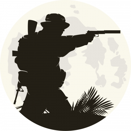 terrorist attack: silhouette of soldier in action. Vector 2