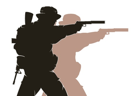 silhouette of soldier in action Vector