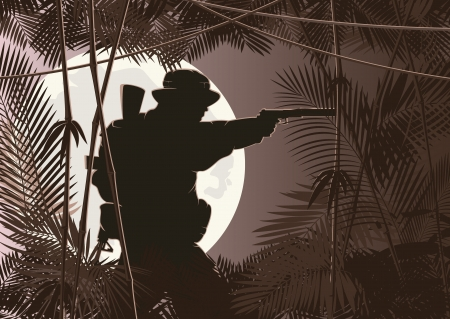 illustration of soldier in jungle forest Vector