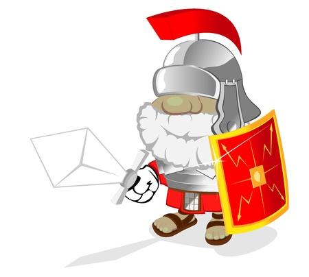 illustration of cartoon rome soldier