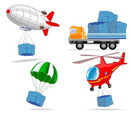 blimps: set of cargo transport Illustration