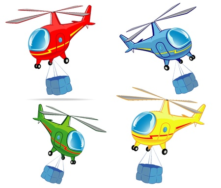 set of helicopters with cargo Vector