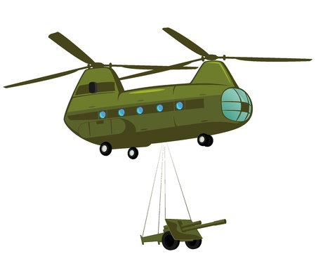 cartoon atom: military cargo transport  illustration
