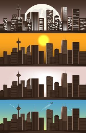 set of illustrations of big city Stock Vector - 15866224