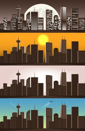 set of illustrations of big city Stock Vector - 15866224