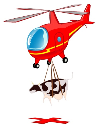 delivers: flying cartoon helicopter delivers a cow