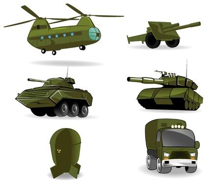 bombe atomique: ensemble de v�hicules militaires illustration