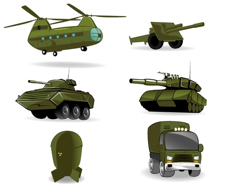atomic bomb: set of military vehicles  illustration Illustration