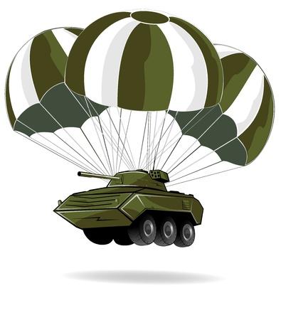 spadochron: dostawa pojazdu wojskowego