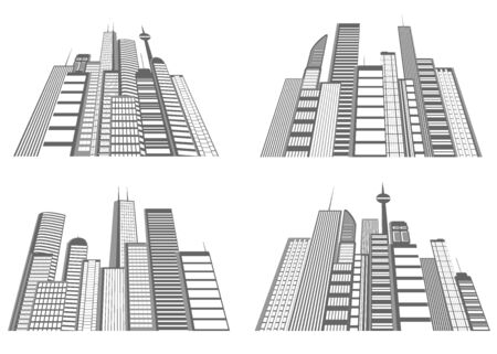 set of views of large city Stock Vector - 16006698