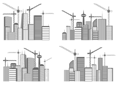 set of a large cities under construction. vector illustration Vector