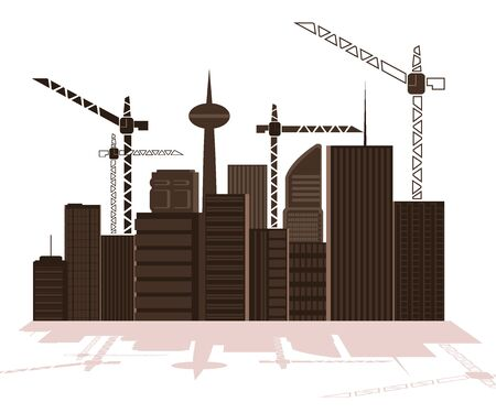 Illustration of a large city under construction. vector 2 Stock Vector - 16006695